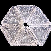 SALE American Hawkes Signed Set of Six Cut Glass Crystal Triangular Salts c 1895 †...