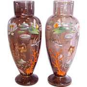 "Bohemian Moser Pair Large 15 ½"" Vases w Enameled Aquatic Sea Life Fish Flowers c ..."