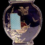 SALE French Paris St. Denis Cobalt Faience Vase w Bird Butterflies Scene c 1870