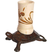 Asian Japanese or Chinese Small Metal Bronze Detailed Sea Turtle w Hand Painted Pen or Match H