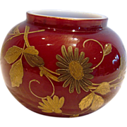 Bohemian Harrach Small Art Glass Vase Cased Red Oxblood w Gold Hand Enameled Flowers & ...