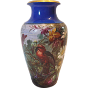 French  Paris Vase Hand Painted Landscape Scene w Birds, Large Daisies & Foliage Artist Signed