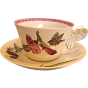 French Haviland Limoges Cup & Saucer w Figural Butterfly Handle Meadow Visitor Birds Purple ..