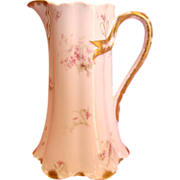 French Haviland Limoges Jug or Pitcher Pink Flowers c 1893 to 1930