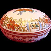French Mehun Hand Painted Powder Box Studio Decorated c 1900 - 1930