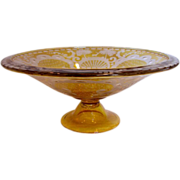 Bohemian Amber Glass Footed Centerpiece Bowl Acid Cut Deer Turrets, Trees & Scrolls c 1930