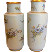 """French Limoges Pair 11"""" Vases Hand Painted Blue & Yellow Flowers c 1892 - 1907"""