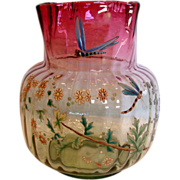 French Art Glass Vase Pale Green to Deep Cranberry Hand Painted Enameled Dragonflies & Flowers