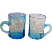 Bohemian Art Glass Pair of Blue Shot Mugs for Whiskey w Handles Hand Painted Enameled ...