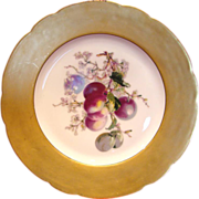 French Haviland Limoges Plate Gold Rim Purple Fruit Apples c 1893 - 1910