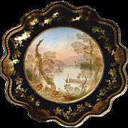English Aynsley Cobalt Pedestal Comport Artist Signed Lake Killarney Landscape Scene c 1890 -