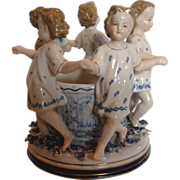 "German Ernst Bohne 7"" Figural Group Little Girls & Wishing Well Applied Flowers c 1878 - 192"