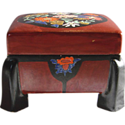 Japanese Asian Satsuma Footed Box Enameled Flowers Meiji Pre-1900