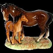 English Beswick England Mare & Foal Figurine Figural Group on Base c 1949 - 1983