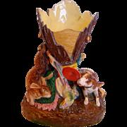 Bohemian Czech Pirkenhammer Fisher Bisque Porcelain Figural Vase w Hunting Retriever Dog Rabbi