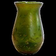 "Bohemian Green 5 3/8"" Art Glass Iridescent Vase w Mica Flakes c 1890"