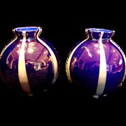 Bohemian Czech Unusual Pair Small Art Glass Vases Three Layers Blue White Blue & Iridescent ..
