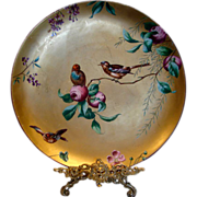 """English Minton 14"""" Charger Gold w Essex Birds c 1881"""