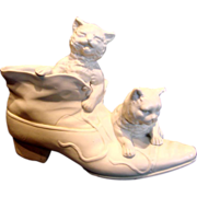 French Paris Bisque Parian Puss in Boots Two Cats in Porcelain Shoe Boot Figurine Pen ...