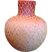 "English 7 ¾"" Art Glass Vase Satin Ruby Shading to Pink Over White Diamond Air ..."