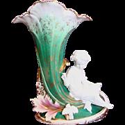 "French Old Paris 16"" Large Trumpet Vase w Bisque Girl & Bird c 1870"