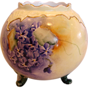 Austrian Vienna Footed Vase Hand Painted Violets c 1890 - 1910