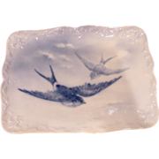 French Limoges Limousin Artist A. Janat Fleur-de-Lis Tray Birds in Flight Blue Underglaze c 18