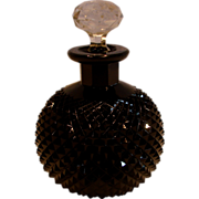 Bohemian Czech Cut Diamond Point Black Art Glass Perfume Bottle Signed c 1930