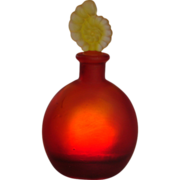 French Red Art Glass Perfume Scent Bottle w Yellow Escargot Snail Stopper c 1925