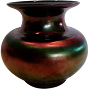 Bohemian Iridescent Black Art Glass Vase c 1930