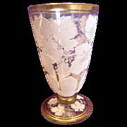 Bohemian Art Glass Clear Glass Tumbler Goblet w White Coralene Gape Leaves c 1890
