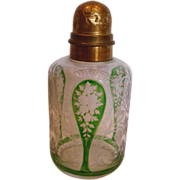 French Saint Louis Art Glass Crystal Perfume or Talcum Powder Bottle Finely Etched Flower Gree