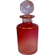 French Baccarat Crystal Art Glass Etched Perfume Scent Bottle Rubena (Rubina) Clear to Red Cra