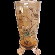 "Bohemian Footed Coralene Amber Art Glass Vase 6"" c 1885"
