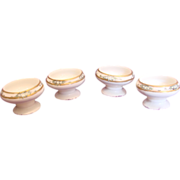 Bavarian Set 4 Porcelain Open Salts Hand Painted c 1920
