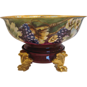 French Limoges Eggnog Punch Bowl on Paw Footed Stand Grapes & Flowers Artist Painted Signed c