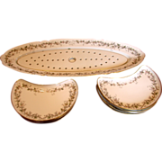 French Paris Fish Set Platter w Reticulated Insert & 7 Crescent Shaped Plates Wild Roses c ...