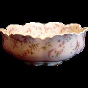 French Haviland Limoges Footed Boule Shaped Salad Bowl Pink Flowers Blue Ribbons Schleiger 481