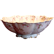 French Haviland Limoges Footed Salad Bowl Pink Flowers Blue Ribbons Schleiger 481 c 1894 to ..