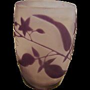 French Cameo Miniature Art Glass Purple Leaves Flowers c 1890 - 1910