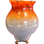 "Scottish Monart Art Glass Vase 9.75"" on Metal Stand Blue Orange c 1920s"