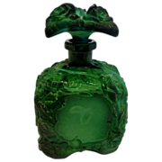 Bohemian Schlevogt Ingrid Green Art Glass Perfume Bottle w Roses c 1935