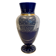 SOLD Bohemian Cobalt Blue Art Glass Vase Cased White w Enameled Lace Curtains Draperies c 1890