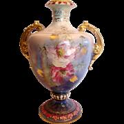 """German Royal Bonn Mehlem 10.5"""" Vase Hand Painted Pink Poppies Unique Blue Lustre Glaze ..."""
