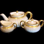 English Cauldon Tea Set Teapot Sugar Creamer White & Gold c 1905 - 1920