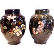 French Haviland Limoges Pair Large Barbotine Faience Terra Cotta Vases Flowers in Relief Signe