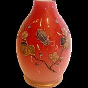 English Webb Pink Cased Art Glass Vase w Hand Enameled Beetle c 1890