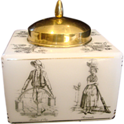 French White Art Glass Tobacco Humidor or Cookie Jar w Street Workers on Sides & Brass Lid c 1