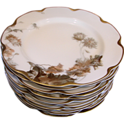 French Haviland Limoges Set 12 Dinner Plates Feu de Four c 1903