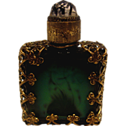 Bohemian Czech Very Tiny Malachite Art Glass Perfume Scent Bottle w Metal Holder & Jeweled Sto